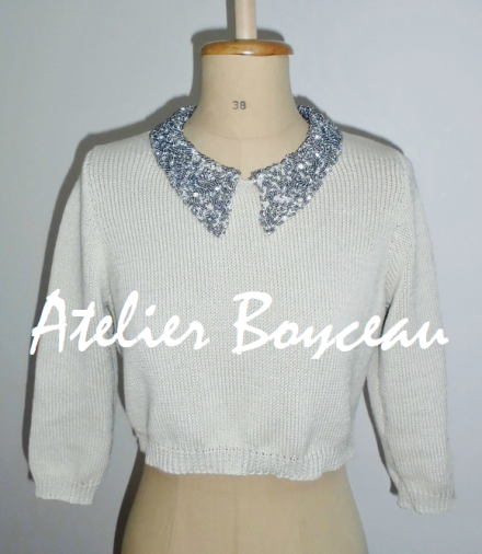 Handmade cotton knitted short jumper with embellished collar.
