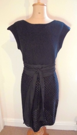 Atelier Boyceau black cotton knitted dress, lace skirted