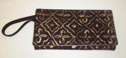 Brown suede clutch bag hand printed gold design