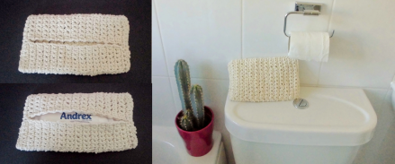 Crochet wipes holder white cotton